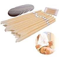 Ear Wax Candles, Aolvo Beeswax Ear Candles with 10Pcs Protective Discs and Cotton Swab for Blocked Ears - Double Filters Ear Candling- Organic Candles - Hollow Ear Wax Remover - Relaxes Nerves