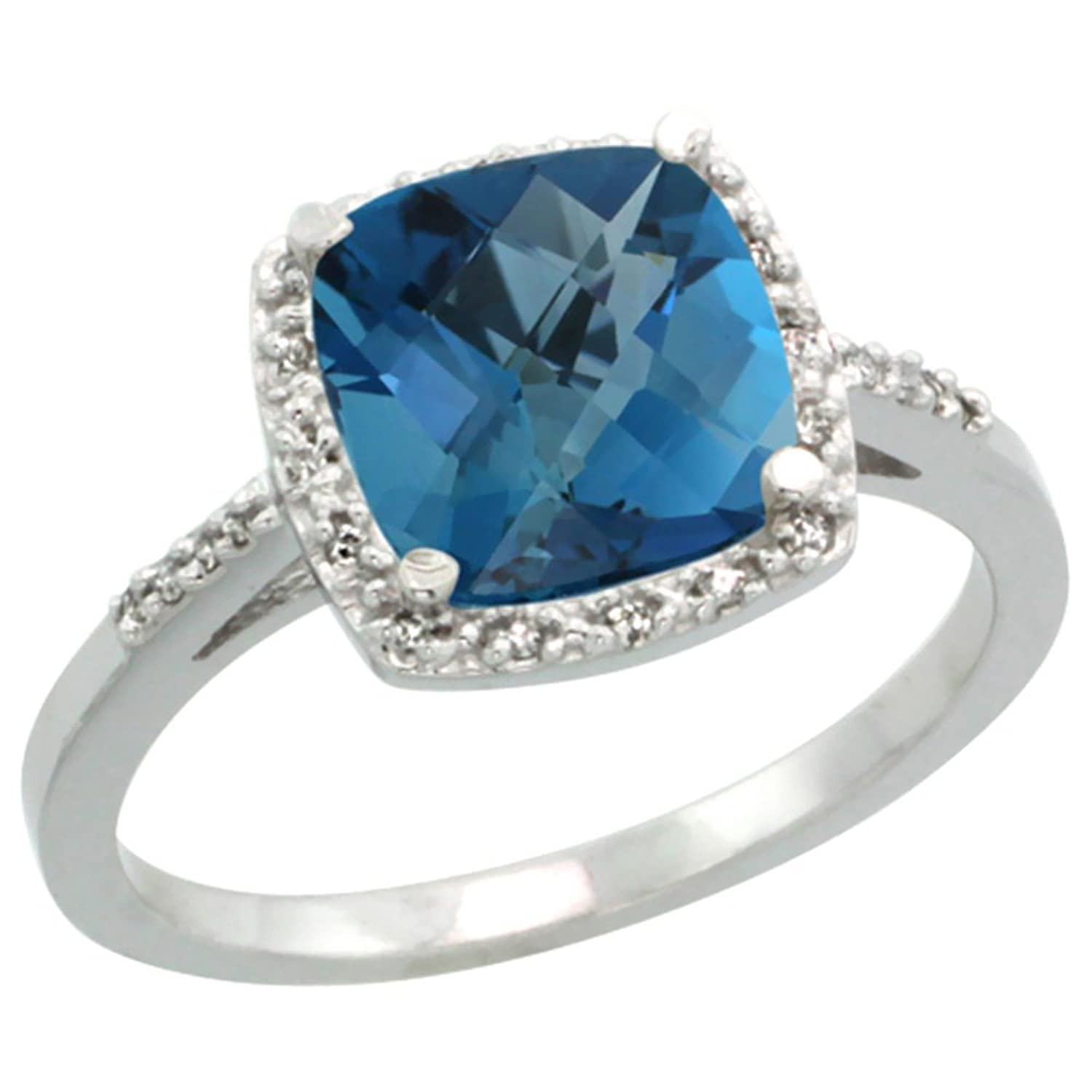 Amazon 10K White Gold Diamond Natural London Blue Topaz Ring