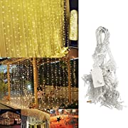 Amazon Lightning Deal 86% claimed: Led Curtain Light, Ucharge Window Curtain Icicle Light - 300led 9.8*9.8feet 8modes Linkable Warm White - String Fairy Lights for Wedding, Party, Christmas Decoration