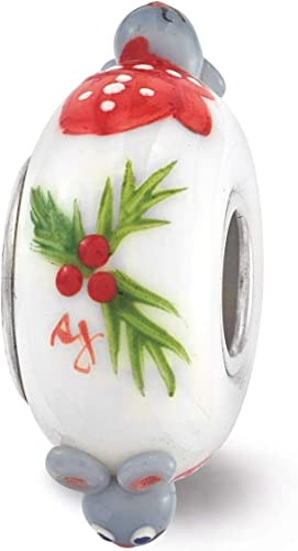 Sterling Silver Reflection Hand Painted Christmas Mouse Fenton Glass Bead