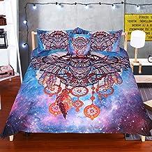 Sleepwish Owl Dreamcatcher Bedding Tribal Dream Catcher Hipster Owl Duvet Cover Purple Galaxy Nebula Stars Space Duvet Cover (Full)
