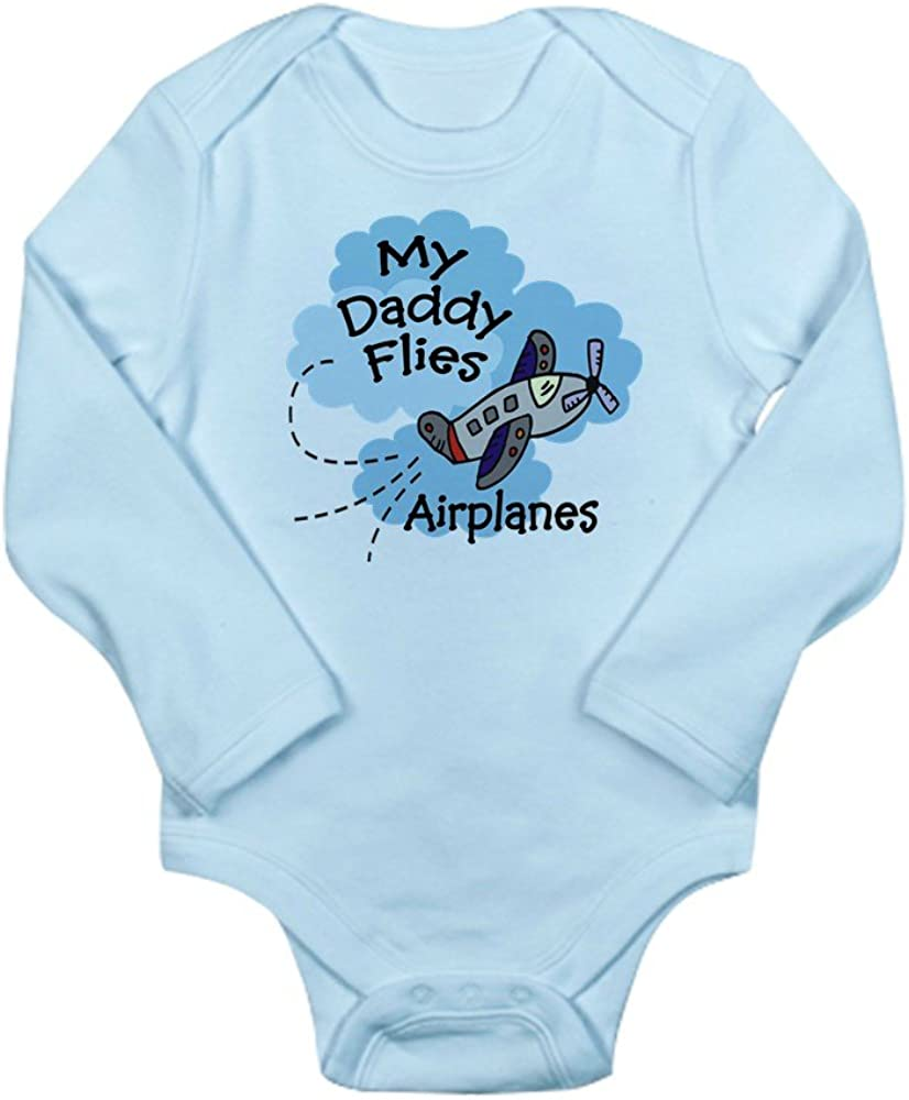 CafePress My Daddy Flies Airplanes Body Suit Cute Long Sleeve Infant Bodysuit Baby Romper Sky Blue