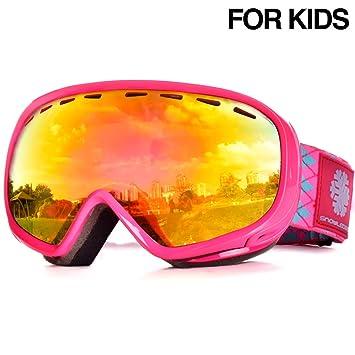 d9ea0b0de9 Gafas de esquí para niños, gafas de esquí para jóvenes, lentes esféricas dobles  con antiniebla, ...