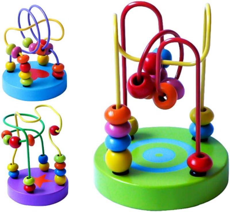 Ocobudbxw Wood Beads Roller Coaster Maze Game Kids Training Inteligencia Desarrollo Herramienta de Ejercicio Ni/ños Juguete Educativo