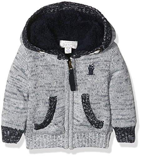 Pumpkin Patch Baby-Jungen Strickjacke Hooded Cardigan, Grey (Athletic Marle), 86