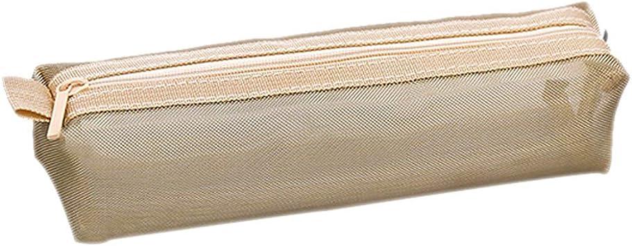 Qinlee - Estuche de malla transparente para cartas, papeles, papelería, neceser, neceser para cosméticos, estuche para cartas, papel de carta, color gris, Dorado: Amazon.es: Bricolaje y herramientas