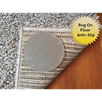 Sticky Discs Non-Slip Rug Pads For RUG-ON-FLOOR Anti-Slip. Rug Stickers. No Residue. 12 Pack Intended To Limit Multiple Rugs or Large Rugs/Exercise/Door Mats From Moving On FLOORS