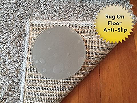 Sticky Discs Non-Slip Rug Pads For RUG-ON-FLOOR Anti-Slip. Rug Stickers. No Residue. 8 Pack. Limits MEDIUM/LARGE Rugs/Exercise/Door Mats From Moving On FLOORS. BRAND (Clear Plastic Area Rug)