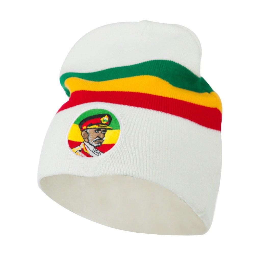 White JFH Rasta Captain Embroidered Beanie