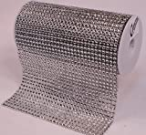 Creative Hobbies Bling! Silver Diamond Rhinestone Mesh Ribbon, Wedding Ribbon, Diaper Cake Ribbon, 6'' x 3 Yards, 31 Row, 1 Roll