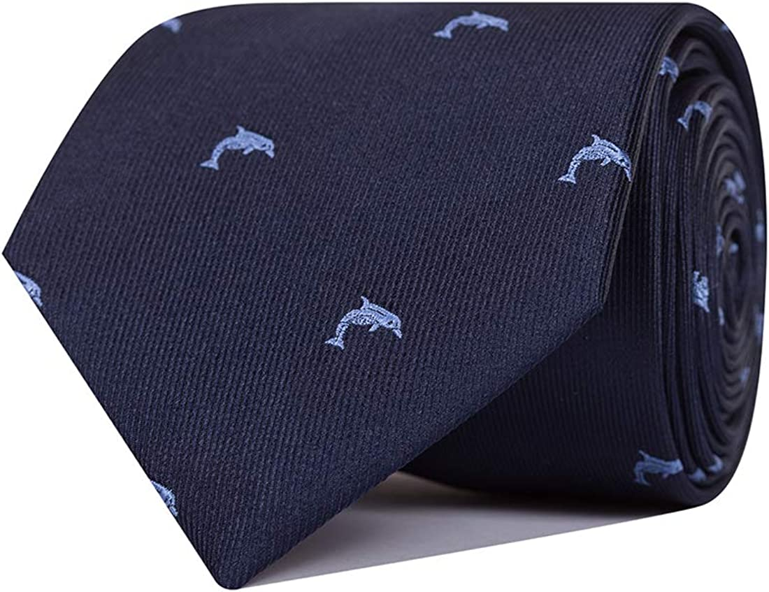 SoloGemelos Hombres Corbata De Seda Azul Con Delfines