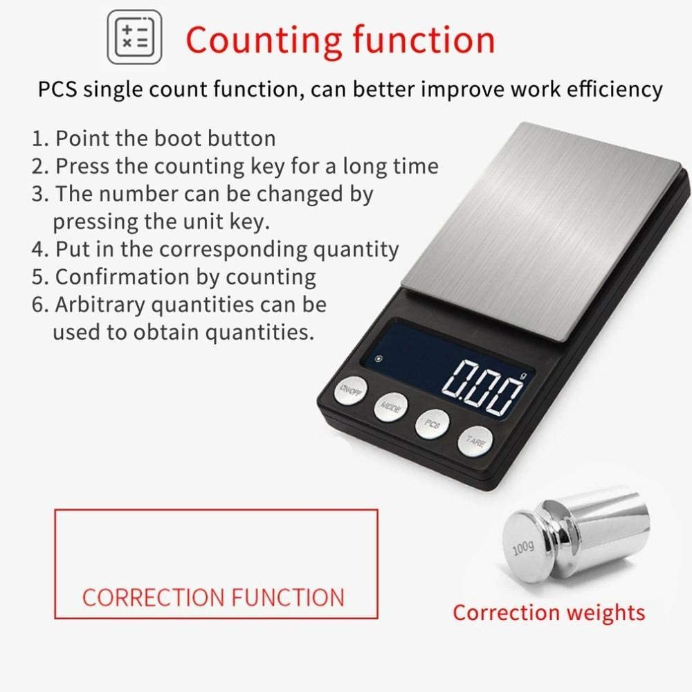 FEE-ZC Kitchen Home Multifunction Mini Scale Pocket Digital Scale Batteries Supply Portable Flat LED Electronic Scales with Tray 300/500 0.01/0.1G-500G-0.01G 500g-0.01g