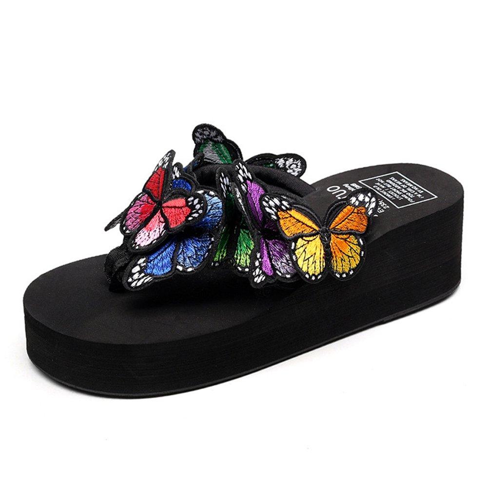 GIY Women Butterfly Platform Flip Flops Bohemian Summer Beach Thick Bottom Anti-slip Thong Wedge Sandals
