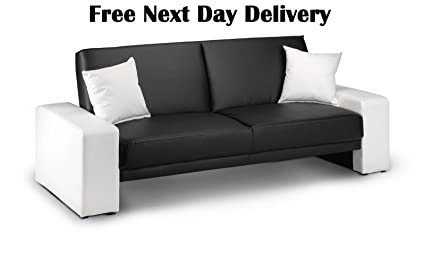 Cuba Supra Sofa Bed Futon in Black & White Faux Leather: Amazon.co ...