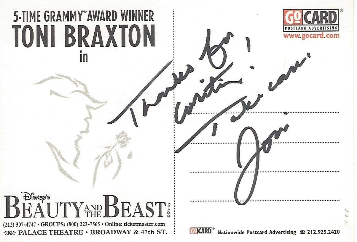 Toni Braxton Sang Change In Me In Beauty And The Beast Signed Beauty And The Beast Post Card Music Cut Signatures At Amazon S Entertainment Collectibles Store
