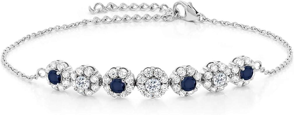 Black  Sapphire White Topaz Tennis  Gemstone Sterling Silver 925 Chain Bracelet