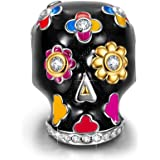 """NinaQueen """"Skull With Rose"""" 925 Sterling Silver Charms, Best Halloween Gifts"""