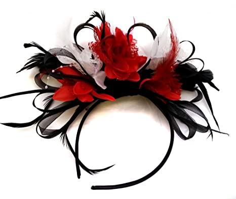 Black Red and White Feather Hair Fascinator Headband Wedding and Royal  Ascot Races Ladies 33375e279b0