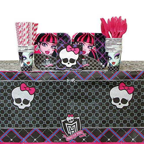 Tablecover Monster Paper High (Monster High Party Supplies Pack for 16 Guests: Straws, Dessert Plates, Beverage Napkins, Cups, Cutlery, and Table Cover (Bundle for)