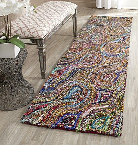 Safavieh Nantucket Collection NAN437A Handmade Abstract Burst Multicolored Cotton Runner Rug (2'3″ x 8′)