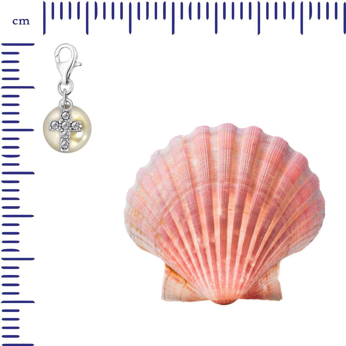 Quiges Charm Pendentif Perle avec Fermoir Femme Argent 925 /Étoile de David avec Oxyde de Zirconium Blanche