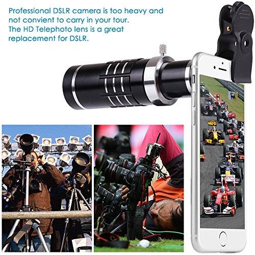 18X HD Telephoto Lens Kit for Phone Camera, AFUNTA Zoom Telescope Telescopic Lens with Mini Tripod for iPhone Samsung Smartphone - Black