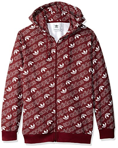 (adidas Originals Men's Monogram Full-Zip Hoodie, Collegiate Burgundy, S)