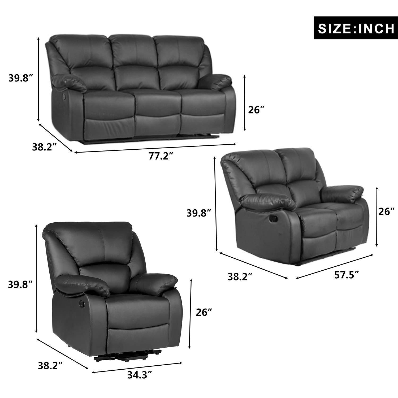 Amazon.com: Merax Recliner Sofa for Living Room PU Leather ...