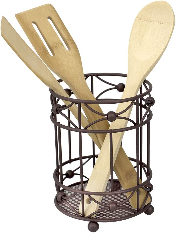 Home Basics Arbor Collection Heavy Duty Steel Cutlery Holder with Mesh Bottom and Non-Skid Feet, Oil-Rubbed, Bronze