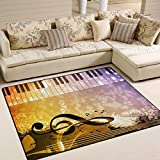 "ALAZA Vintage Music Note Piano Guitar Area Rug Rugs for Living Room Bedroom 5'3""x4'"