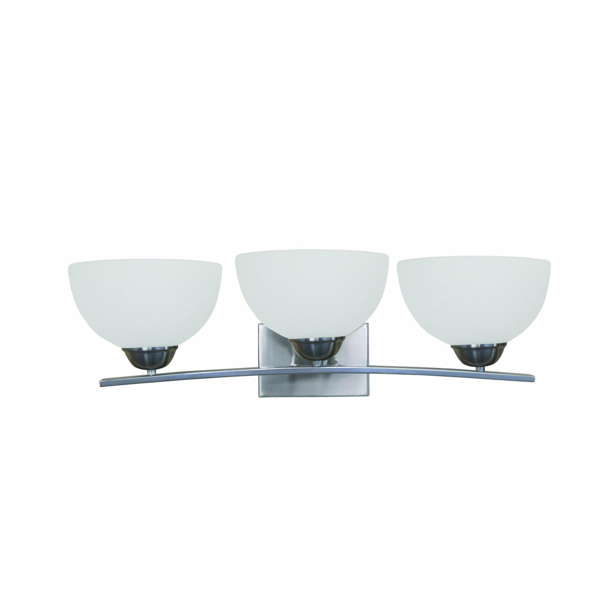 Yosemite Home Decor 107-3V-AWSS 3-Lights Bathroom Vanity with White Glass, Satin Steel