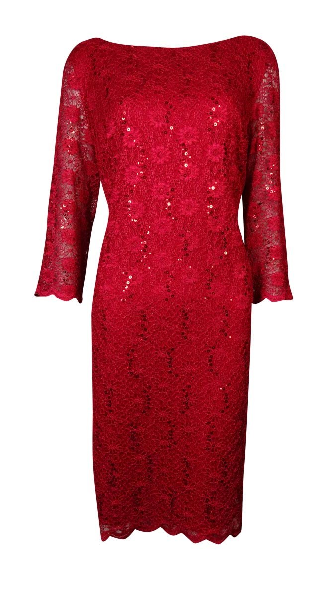 Calvin Klein Women's Bateau Scalloped Lace Sheath Dress (4P, Cherry)