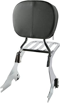 XMT-MOTO Backrest Sissy Bar With Luggage Rack fits for Harley Davidson Sportster XL1200 XL883 2004-later