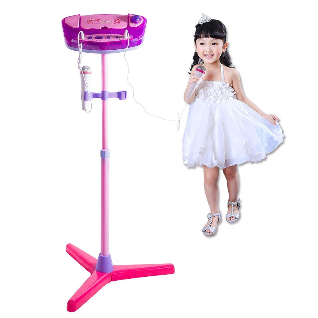 HYZH Kinder Karaoke Maschine Einstellbare Stand Mit 2 Mikrofone Bluetooth Für Singen-Blau