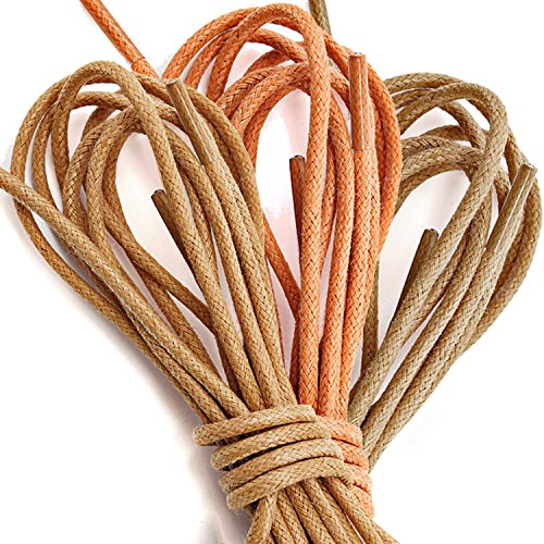 Women's DailyShoes Round Waxed Shoelaces Oxford Flat Dress Canvas Sneaker Shoe Laces (Three Pair) (Great for Bridesmaid), Brown, Orange, Tan (Oxford Tan Womens)