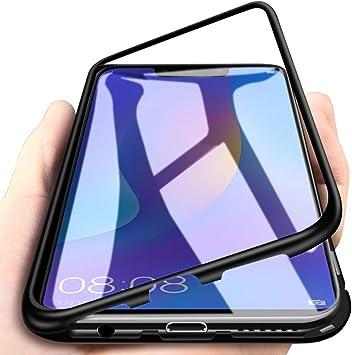 TVVT Funda Magnetica Compatible con Huawei Y6 2019 / Y6 Pro 2019 Funda, Adsorción Magnética Carcasa Ultra-Delgado Transparente Vidrio Templado Espalda con 2 en 1 Mezclar Rígido Marco de Metal: Amazon.es: Electrónica