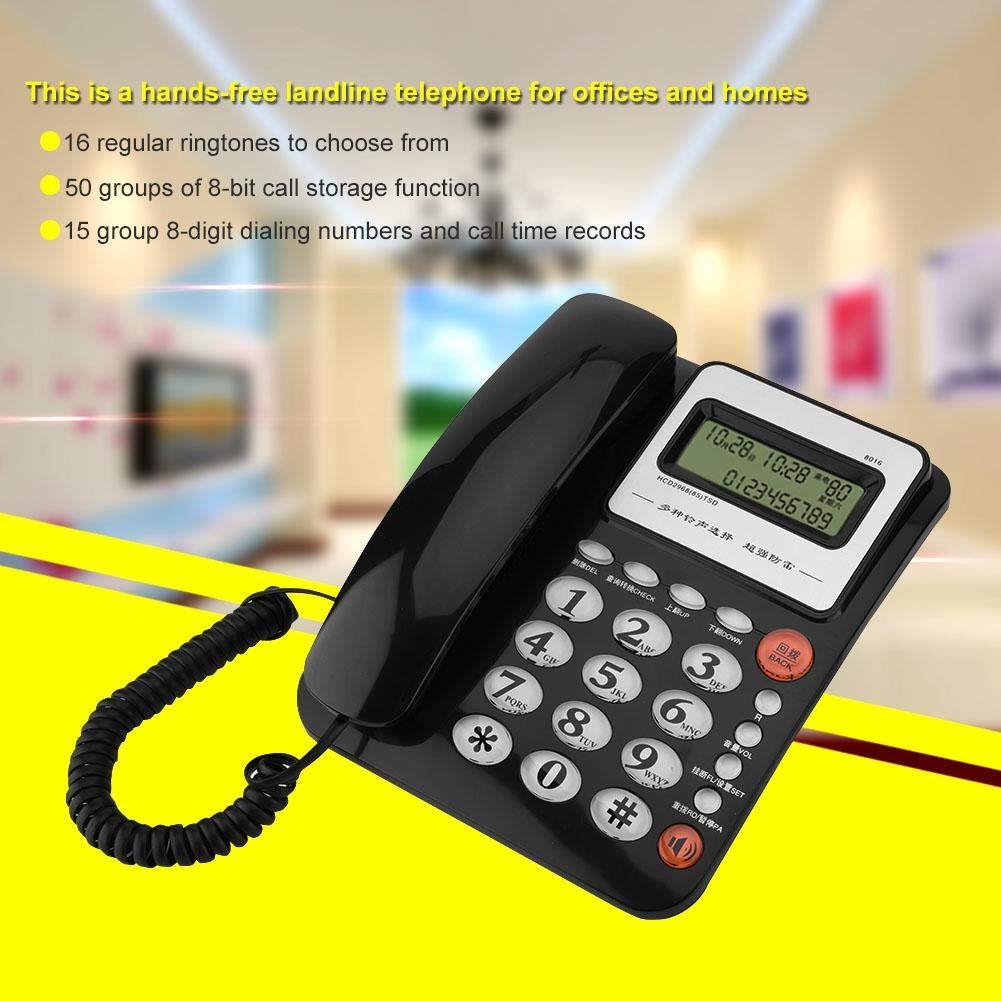 Wendry Schnurgebundenes Telefon Anpassung an die Anforderungen eines modernen drahtlosen Wei/ß Gro/ßbild-Anrufer-ID-Anzeige Festnetz-batterieloses Festnetztelefon f/ür Privatanwender