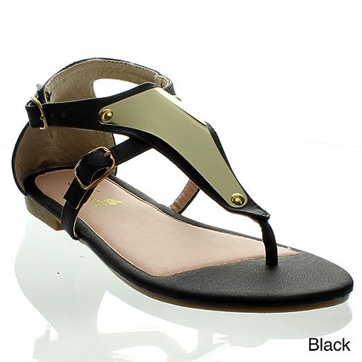431131478 Amazon.com  ANNA VITA-11 Women T-Strap Ankle Strappy Metal Acent ...