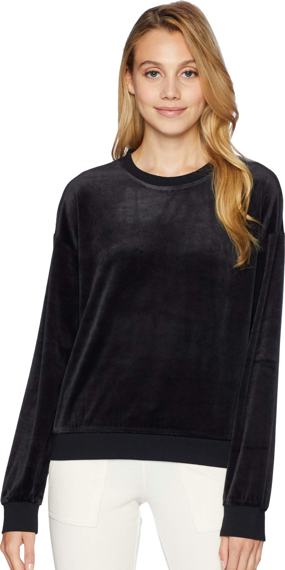 Juicy Couture Black Label Women's Lightweight Velour Paradise Cove Pullover, Pitch, L