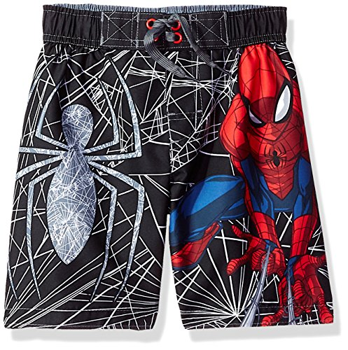 Marvel Big Boys' Spiderman Web Swim Trunk, Midnight, 5/6