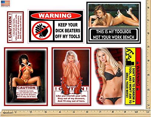 WARNING CAUTION TOOLBOX 6 STICKER SET SNAP ON CRAFTSMAN SEXY GIRL USA -