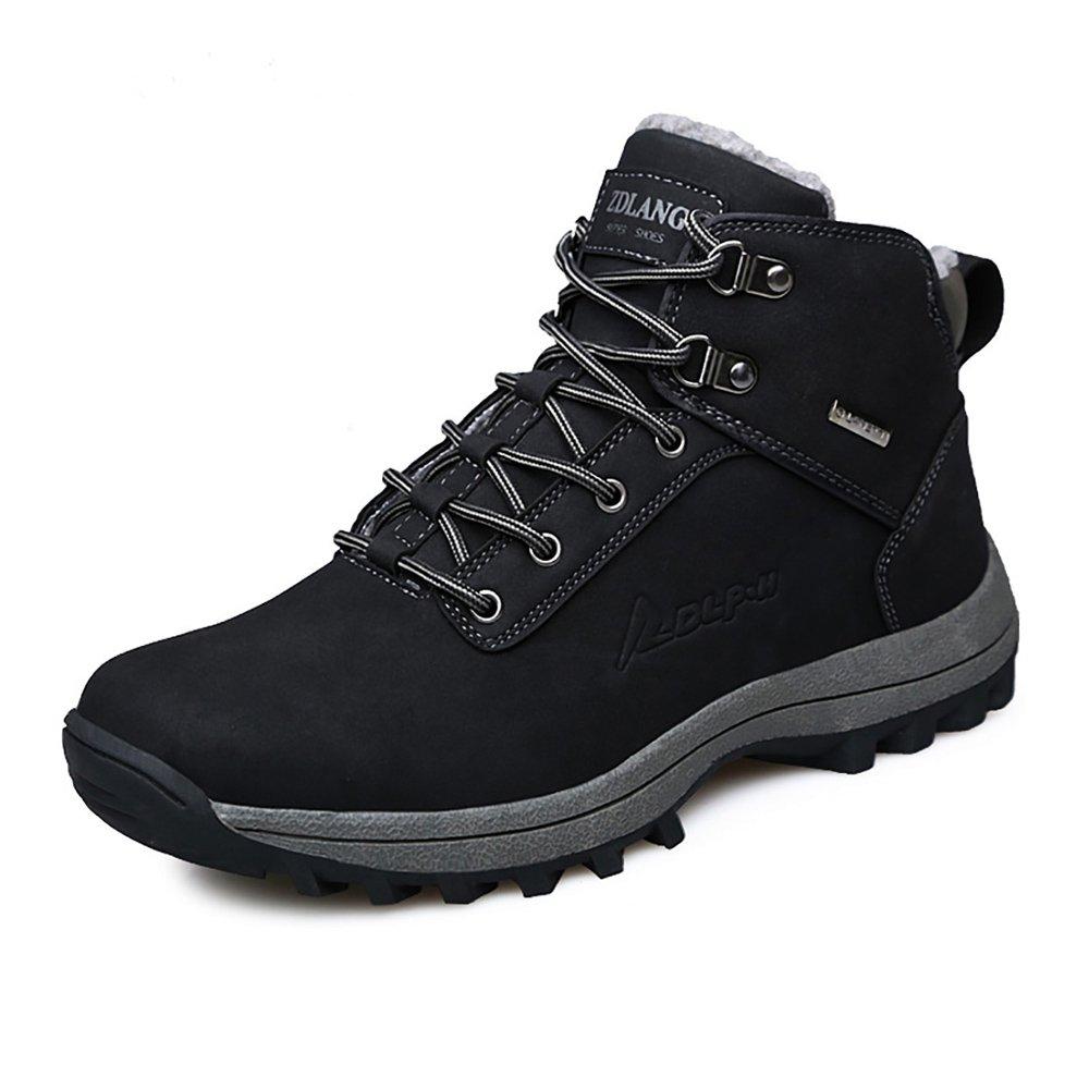 EZUOGO Men's Snow Boots Outdoor Waterproof Sneakers Winter Warm Shoes (US-9.5, Black)