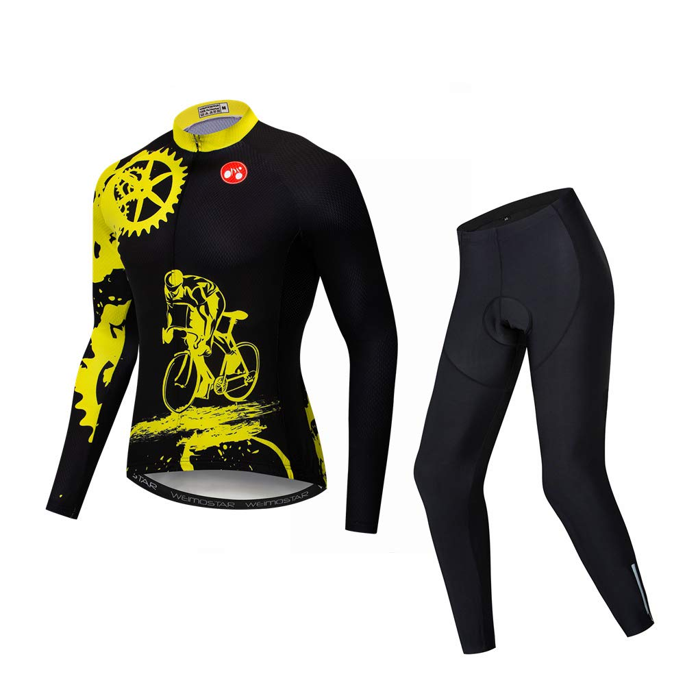 Yellow XXXL(Ht6973 Wt202220lbs) Men's Cycling Long Sleeve Breathable Jersey Set 3D Padded Long Pants Bike Shirt Bicycle Tights Clothing