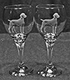 Vizsla Dog Laser Etched Wine Glass Set (2, TDW)