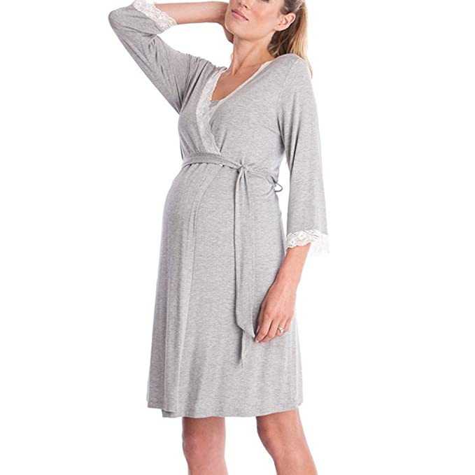 Womens Maternity Dress Short Sleeve Nursing Robe Nightdress Pregnancy Nightgowns Sleepshirts for Delivery Nightwears Hospital Breastfeeding Nightgown Sleepwear