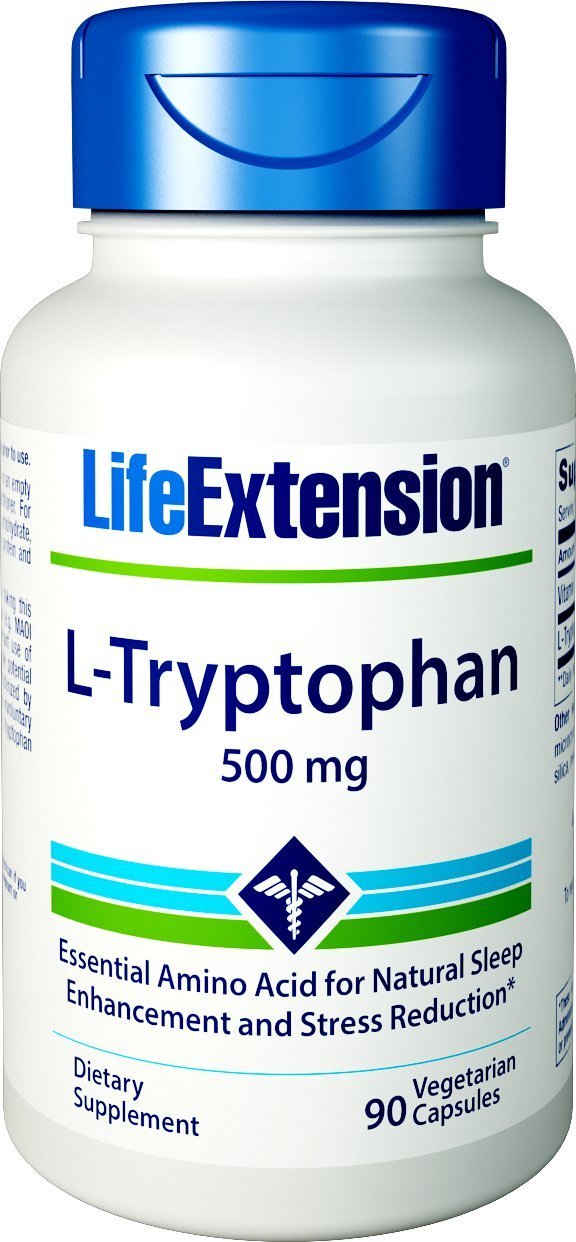 Life Extension L-Tryptophan 500 Mg, 90 vegetarian capsules