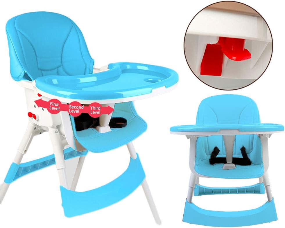 Bleu Chaise Haute pour B/éb/é,Chaise pour Tout-petit Si/ège dAppoint Pliable et R/églable avec Table /à Manger,Chaises de S/écurit/é en PU pour B/éb/és,Chaise Haute pour Poupon,Chaise de table