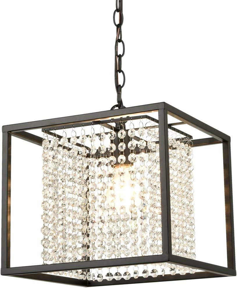 AXILAND Industrial Square Chandelier Crystal Light Fixtures Ceiling Lamp