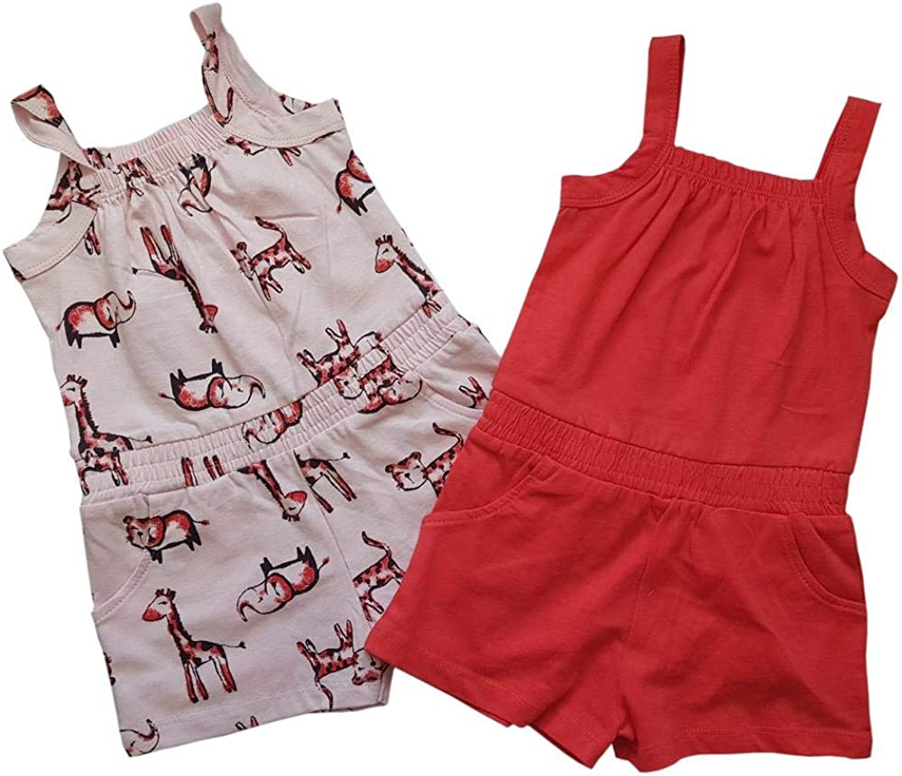 Girls Ex Chain Store 2pc Playsuit Pink and Coral with Zoo Print Sizes from 1 Year to 5//6 Years