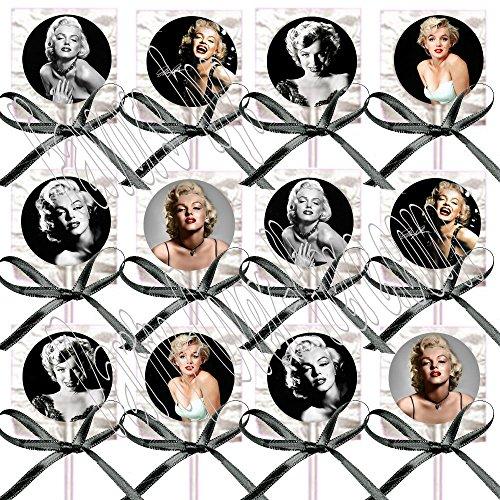 Marilyn Monroe Party Favors Supplies Decorations Lollipops w/Black Ribbon Bows Party Favors Blonde Bombshell (12 pieces) One dozen -
